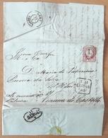 Portugal - COVER - Stamp: 25 Reis D. Pedro V (1860) - Cancel: 2 X Lisboa + Porto + 1 (destiny: Vianna Do Castello) - 1855-1858 : D.Pedro V
