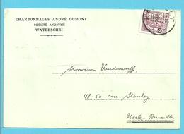 """479 Op Kaart Met Firmaperforatie (perfin) """"A.B."""" Van CHARBONNAGES ANDRE DUMONT WATERSCHEI - 1934-51"""