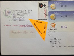 """Portugal, Registered Circulated Cover To Portugal, """"Machine Stamps"""", """"Football"""", """"Cardiology"""", """"Coins On Stamps"""", 2008 - 1910-... República"""