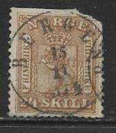Norway Scott # 10 Used Arms, 1863, CV$65.00, Space Filler - Norway