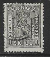 Norway Scott # 11 Used Arms, 1868, CV$70.00, Short Perfs - Norway