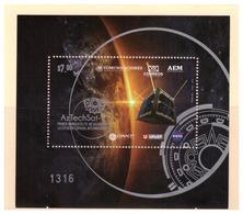2020 MÉXICO AZTECH SAT1 PRIMER NANOSATÉLITE MEXICANO EN LA ESTACIÓN ESPACIAL,  Minisheet  NANO SATELLITE LAUNCH  Space - Mexico