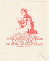 Geboortekaart Maria Karina - Arpád Daniel Nagy (1922-1985) Gesigneerde Ets - Prenten & Gravure