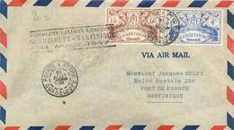 """MARCOPHILIE POSTE AERIENNE MONDE """"1ere Liaison Guadeloupe / Martinique"""" Sur Enveloppe - Avions"""
