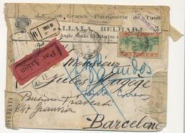 """TUNISIE - Env En Tête """"Grande Parfumerie De Tunis"""" Reco Tunis R.P. - Réparée Après Dommages Arrivée Barcelone - Lettres & Documents"""
