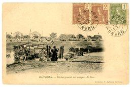 INDOCHINE TONKIN CP DE HAIPHONG 1906 N°24 ET PAIRE N°25 QUANGYEN TONKIN => LOCALE POUR QUANG-YEN ( A CIRCULEE) - Lettres & Documents