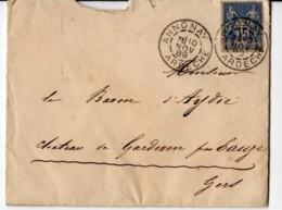 Annonay Ardeche Cachet R84-A2 1889, Lettre Avec Correspondance Pour Baron D'Aydié Par EAUZE Gard - 1877-1920: Semi Modern Period