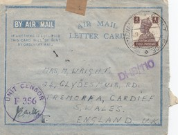 India: 1944: Air Mail Letter Card DHB/110 To Cardiff/Wales, Unit Censor - India