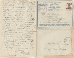 India 194x: Air Mail Letter Card, Unit Censor To S. Wales - India