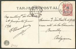 10c. Obl. Sc LARACHE MAROC Sur C.P. (El Halifa Presenciando El Desfile De Las Tropas) Du 26-12-1913 Vers Bruxelles  - 15 - Marocco (1891-1956)