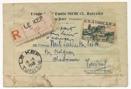 TUNISIE - Carte Lettre Etude Nicolas, Huissier - Obl Le Kef 18/6/1948 - Parti Sans Laisser D'adresse - Tunisie (1888-1955)