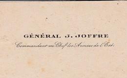 """Cl 11/ Papier >  Militaria > Authentique Carte De Visite Du """"Général J.JOFFRE""""   Avec Sont Enveloppe (Fmt 6 X 10) - Documenten"""
