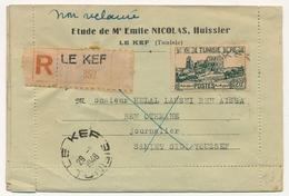 TUNISIE - Carte Lettre Reco. Etude Nicolas, Huissier - Obl Le Kef 2/7/1948 - Arrivée Sakiet Sidi Youssef - Non Réclamée - Tunisie (1888-1955)