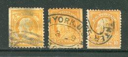 ETATS UNIS- Lot De 3 Timbres Y&T N°208 (A)- Oblitérés Avec Un Coté Non Dentelé - Used Stamps