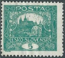 1919 CECOSLOVACCHIA CASTELLO DI PRAGA 5 H D. 11 1/2 ND SENZA GOMMA - RC18-10 - Ungebraucht