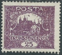 1919 CECOSLOVACCHIA CASTELLO DI PRAGA 25 H D. 11 1/2 MH * - RC18-10 - Ungebraucht