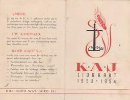 Aalst Kerksken Lidkaart Kaj 1953:54 - Aalst