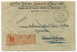 TUNISIE - C.L. En Franchise Reco. Etude Nicolas, Huissier - Obl Le Kef 19/6/1950 - Inconnu, Adresse Insuffisante... - Lettres & Documents