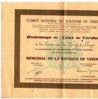 """Cl 11/ Papier >  Militaria > Mémorial De La Bataille De""""Verdun""""  (Fmt A 4 B 5 ) 2 Documents - Dokumente"""