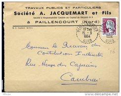 Ar3059 L J ACQUEMART  15-09-64 Cad Rond Pointillé Bureau Distribution Paillencourt Nord/Marianne Decaris 0.25 - Marcophilie (Lettres)