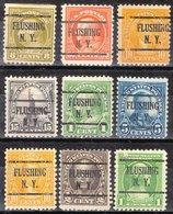 USA Precancel Vorausentwertung Preo, Locals New York, Flushing 225, 9 Diff. Perf. 4 X 11x11, 5 X 11x10 1/2 - Préoblitérés