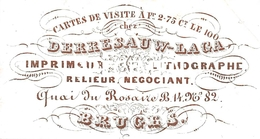 Porceleinkaart  -  Derresauw-Laga Imprimeur Lithographe Relieur Negociant - Bruges - Brugge - 8x4 Cm - Brugge