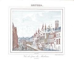 Porceleinkaart  - Vue Du Quai Des Marbriers 1843 - Bruges - Brugge - 12x10 Cm - Brugge