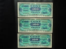 FRANCE : 3 X 100 FRANCS  Série De 1944 Série 8 Dont Les Numéros Se Suivent   P 123c / VF 25.8      SUP+ - 1945 Verso France