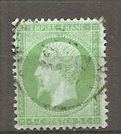 Yv. N° 20  (o)  5c Vert Napoléon III  Cote  10 Euro BE   2 Scans - 1862 Napoléon III.
