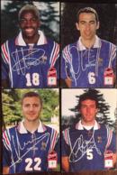 4 CPm, Joueurs Equipe De France De Football, Publicité Coca Cola, L.Blanc, I.Ba, Y. Djorkaeff, F.Maurice Avec Signatures - Football