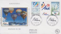 Enveloppe  FDC  1er  Jour  ANDORRE   Stations  De  Ski   Andorranes    1993 - FDC
