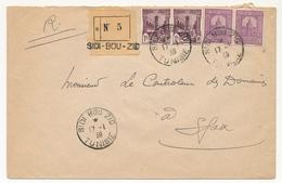 TUNISIE - Env. Reco. Sidi Bou Zid 1939 - Affranchissement Composé - Tunisie (1888-1955)