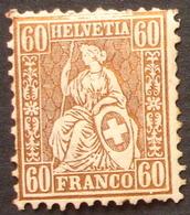 Schweiz Suisse 1862: Sitzende Helvetia Assise Zu 35 Mi 27 Yv 40 - 60c Bronze * Falz MH (Zu CHF 1750.00) - 1862-1881 Helvetia Sentada (dentados)