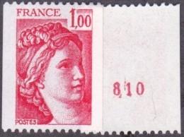 France Sabine De Gandon N° 1981 A ** Roulette Le 1f00 Rouge, Numéro Au Verso - 1977-81 Sabine Of Gandon