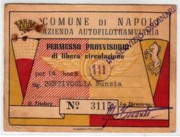 TRAM TRAMWAYS AZIENDA AUTOFILOTRAMVIARIA DI NAPOLI - TESSERA BIGLIETTO TICKET DI ABBONAMENTO 1954 - Europe