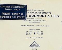 Facture Avec Vignette Expo PARIS 1937/ 59 TOURCOING / J De SURMONT Filature, Bonneterie - France