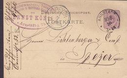 Reichspost Postal Stationery Ganzsache ERNST KÖNIG Taback Cigarren Spiriuosen 5 PfE. ARNSTADT 1879 SPEYER (Arr.) - Germania