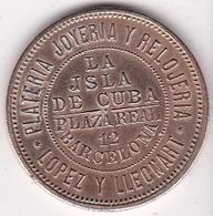 Jeton Ficha Barcelona La Isla De Cuba, Lopez Y Lleonart. Alfonso XII - Profesionales/De Sociedad