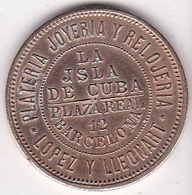 Jeton Ficha Barcelona La Isla De Cuba, Lopez Y Lleonart. Alfonso XII - Professionnels/De Société