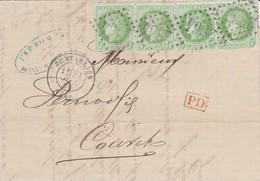 N° 53 Bd De 4 S / L T.P. Ob GC 2964 + T 17 Pontarlier 24 Juil 74, L Pour Couvet, Suisse. TARIF FRONTALIER - 1871-1875 Cérès