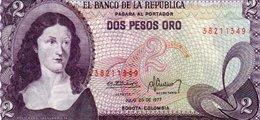COLOMBIA 2 PESOS ORO 1977 P-413b.3  UNC - Colombia