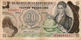 COLOMBIA 20 PESOS ORO 1979 P-409d.1  CIRC - Colombia