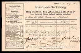 •• NEW ••  Rechnung  PAULINUS BLATT  TRIER •• 1893 ••  Coblenz Saarbrücker Arbeiterfreund Trierer Bauernfreund - Allemagne