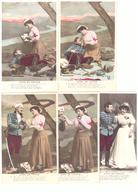 Croix Rouge Dame De France Série Complète De 5 Cartes Infirmiere Soldat Blessé Mariage - Croix-Rouge