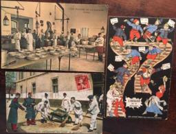"""3 Cpa, Militaria,Humour,"""" L'escalier De La Classe"""", """"l'infanterie. Corvée De Quartier"""",""""Plaisirs De La Caserne:Cuisines"""" - Humorísticas"""