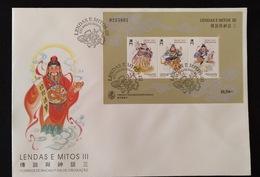 MAC1329-Macau FDCB With Block Of 3 Stamps - Legends And Myths III - The God Of Earth, Fortune And Cuisine - Macau - Macau
