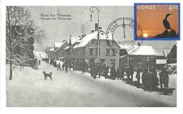 """Norway - Norge 1999 Card In Serie Tromsø Last Millenium, """"Torvet"""" In Winter  Ca 1905 - Stamp First Day - Briefe U. Dokumente"""