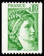 France Sabine De Gandon N° 1980 ** Roulette Le 0f80 Roulette Vert - 1977-81 Sabina Di Gandon