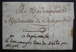 """1810 Lettre Intéressante Pour Mademoiselle De Belllegarde à Lapérouse, Au Revers """"lettres De Mon Mariage"""" - Marcophilie (Lettres)"""