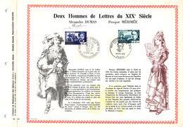 Feuillet PAC (Précurseurs CEF) De 1970, N° 70-12  Deux Hommes De Lettres Du XIXè Siècle, Alexandre DUMAS Prospec MERIMEE - FDC